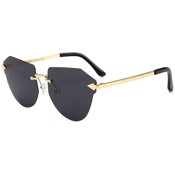 Anti-fatigue Arrow Decorated Irregular Rimless Sunglasses - BLACK GREY