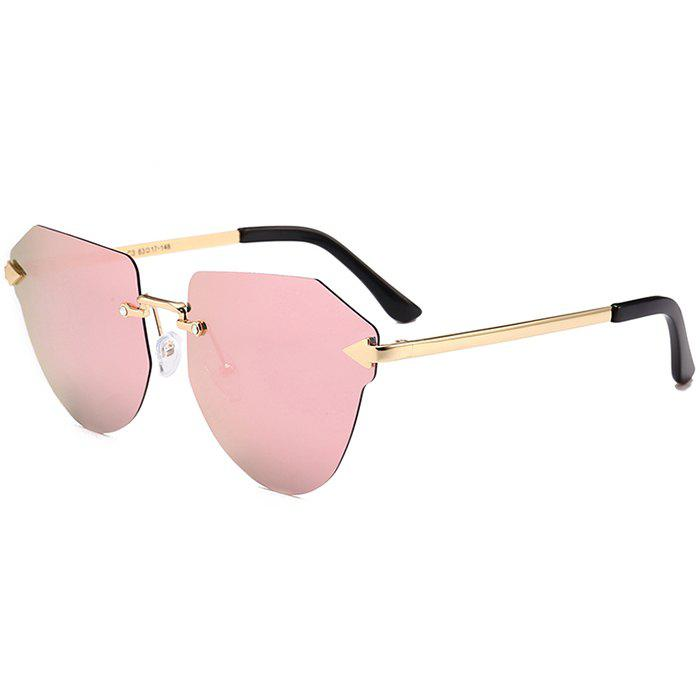 Anti-fatigue Arrow Decorated Irregular Rimless Sunglasses - GLOD FRAME / PINK LENS