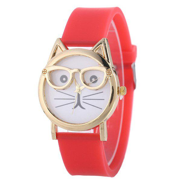 Silicone Band Cat Face Watch - RED