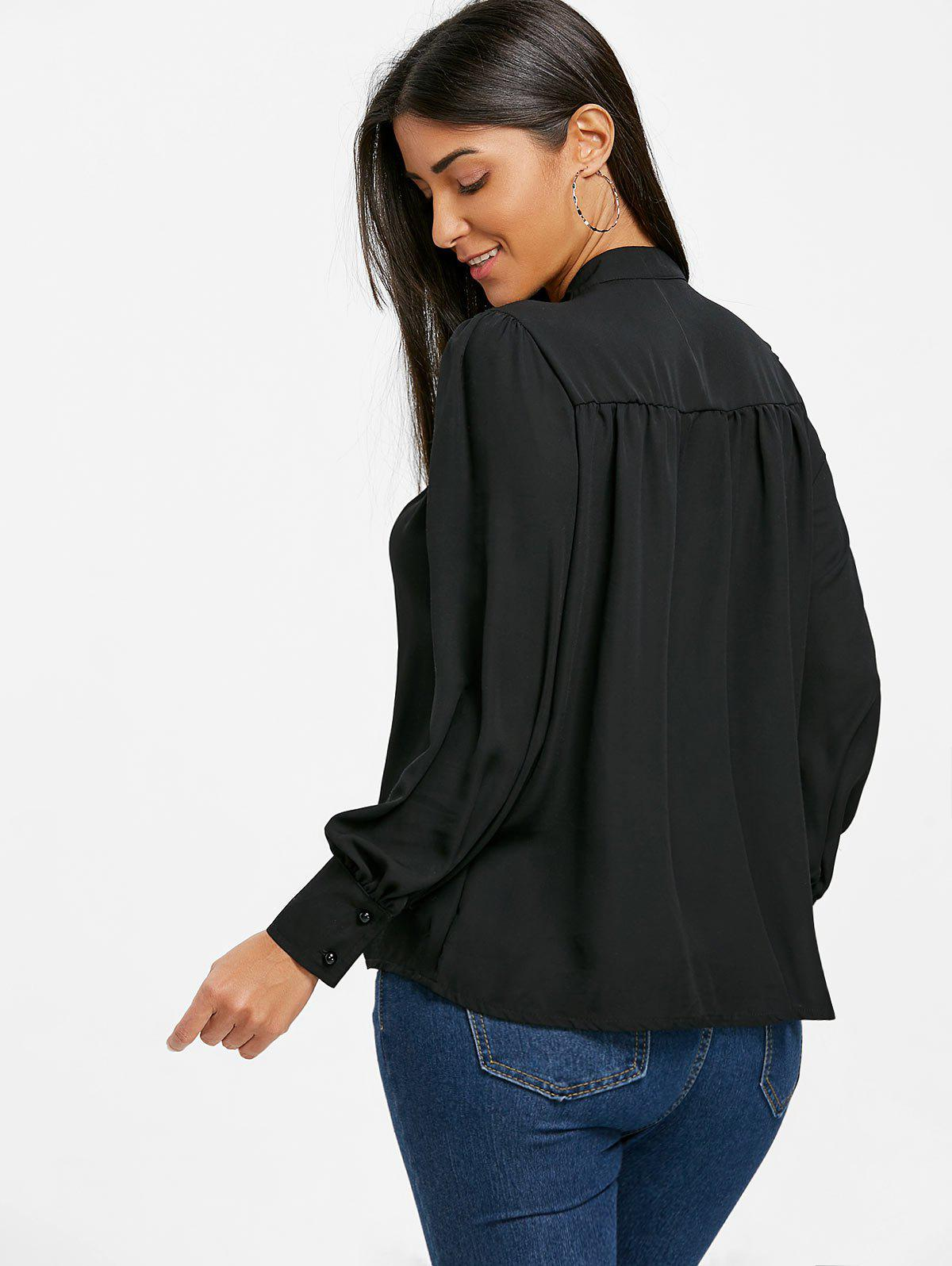 Mock Neck Bowknot Chiffon Blouse - BLACK S