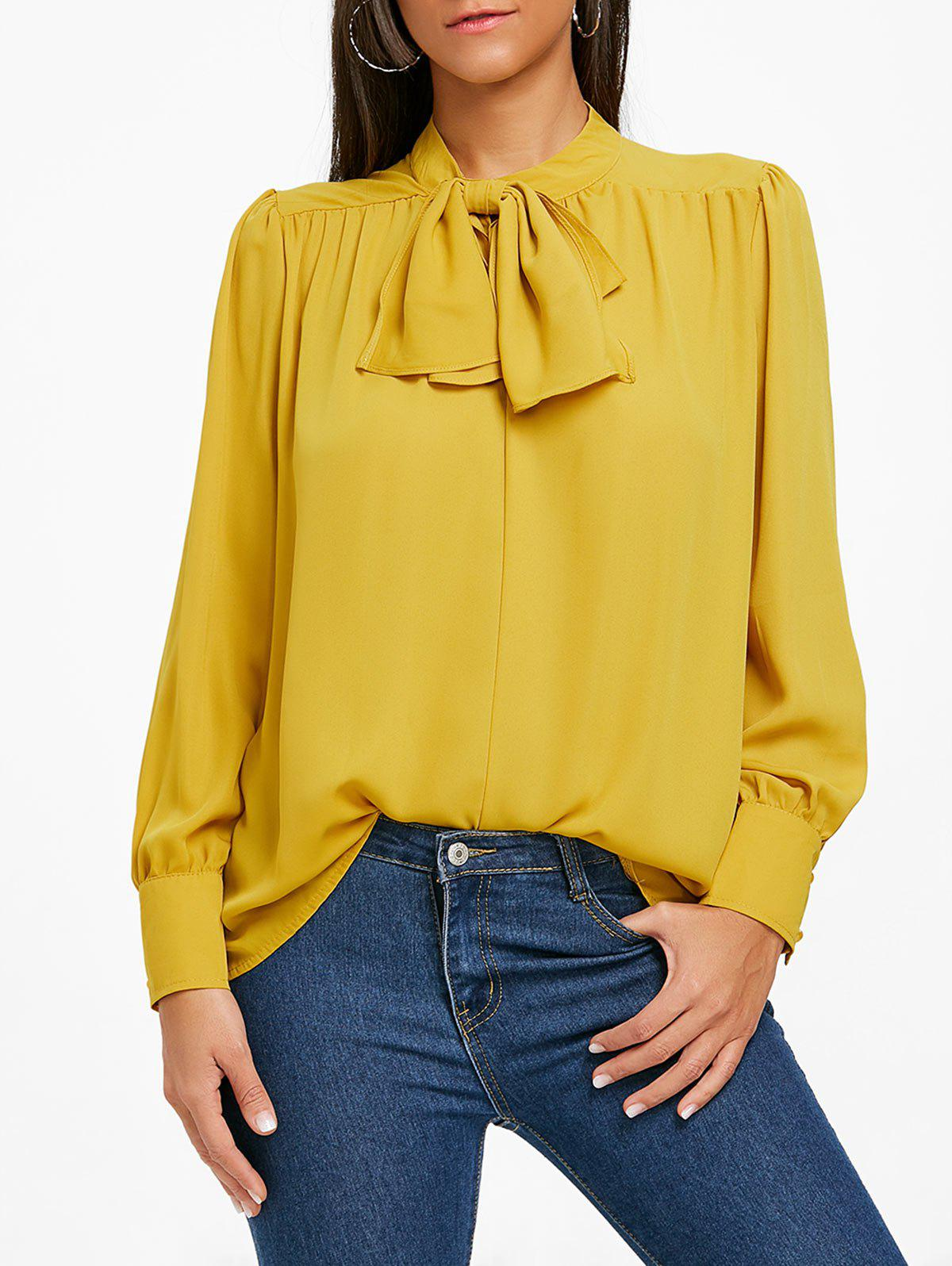 Mock Neck Bowknot Chiffon Blouse - YELLOW XL
