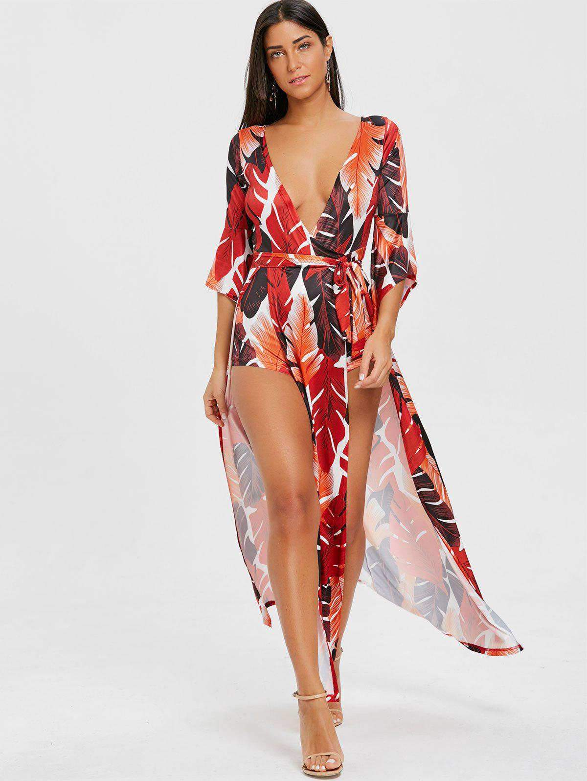 High Slit Leaf Print Low Cut Wrap Dress - ORANGE L