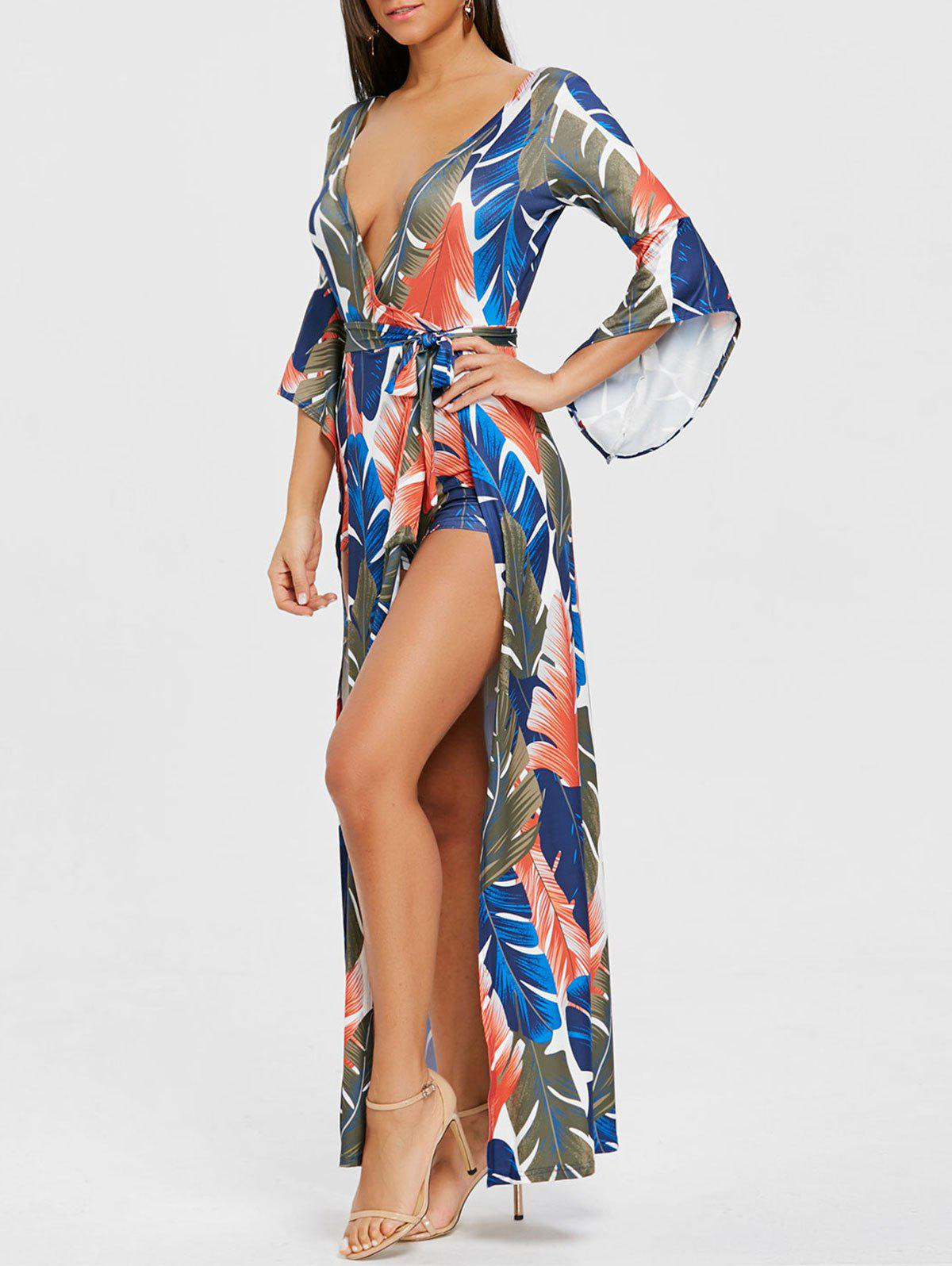 High Slit Leaf Print Low Cut Wrap Dress - BLUE S