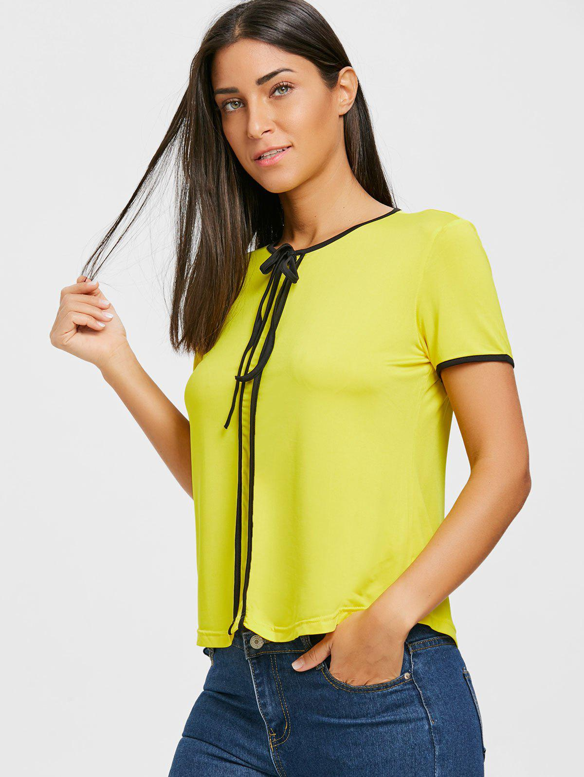 Contrast Trim Self Tie Blouse - YELLOW XL