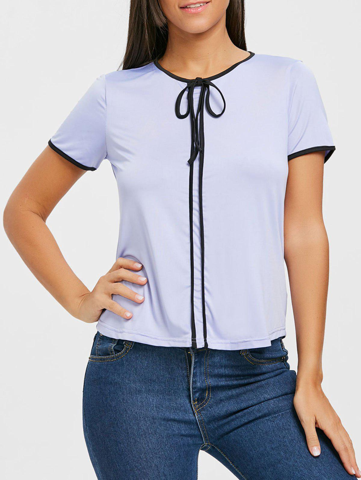 Contrast Trim Self Tie Blouse - PURPLE L