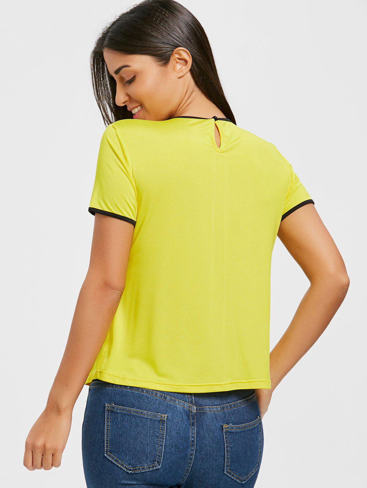 Contrast Trim Self Tie Blouse - YELLOW M