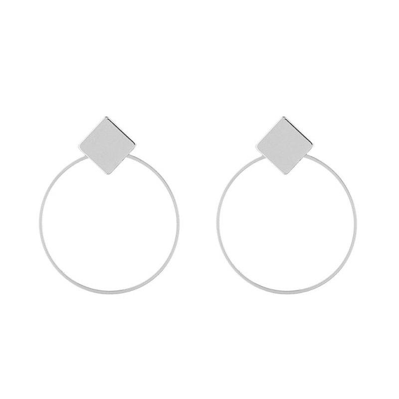 Round Rhomb Hollow Out Drop Earrings - SILVER