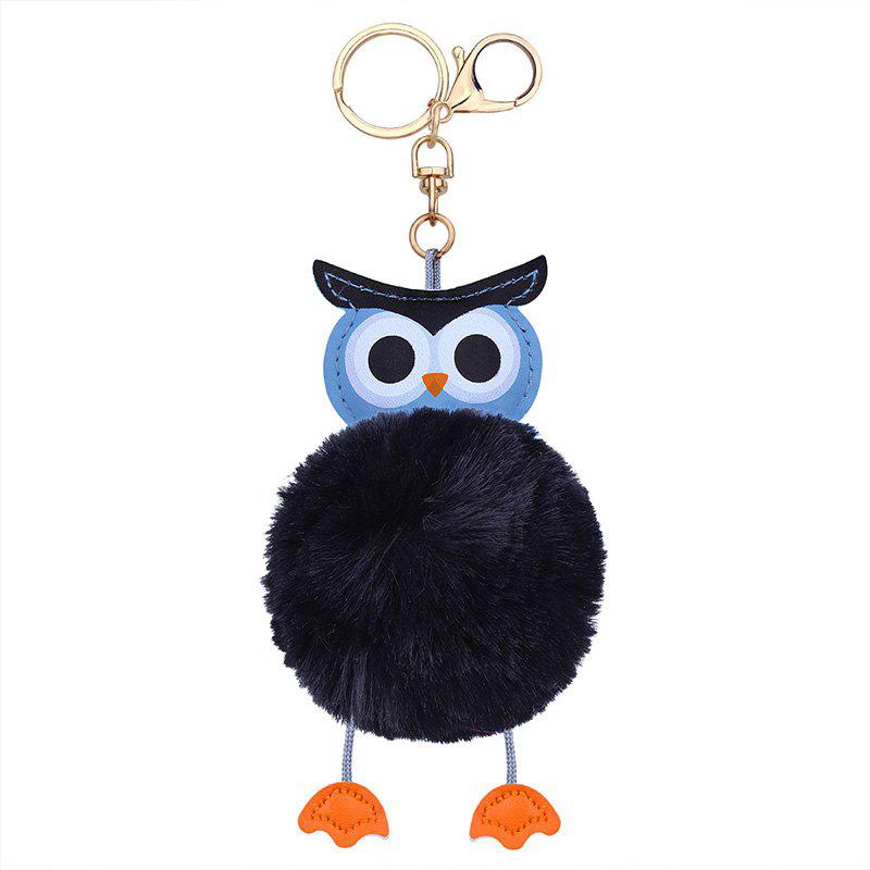 Faux Leather Fuzzy Ball Owl Keychain - BLACK