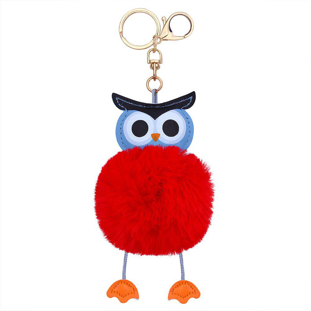 Faux Leather Fuzzy Ball Owl Keychain - RED