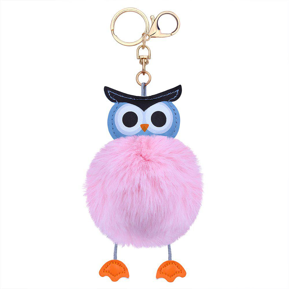 Faux Leather Fuzzy Ball Owl Keychain - PINK