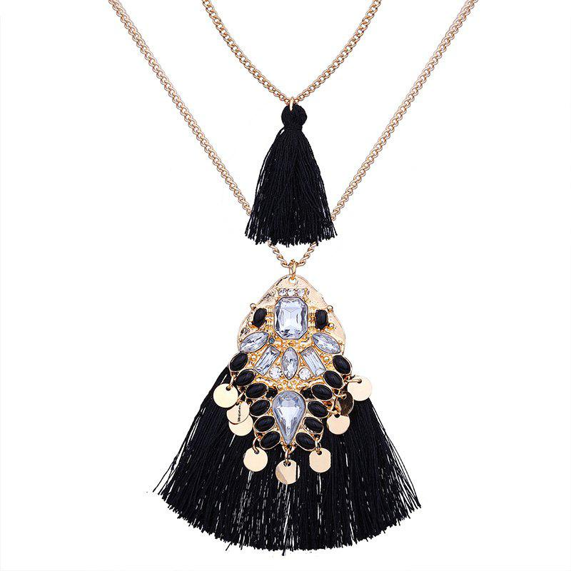 Artificial Crystal Tassel Discs Layered Necklace - BLACK