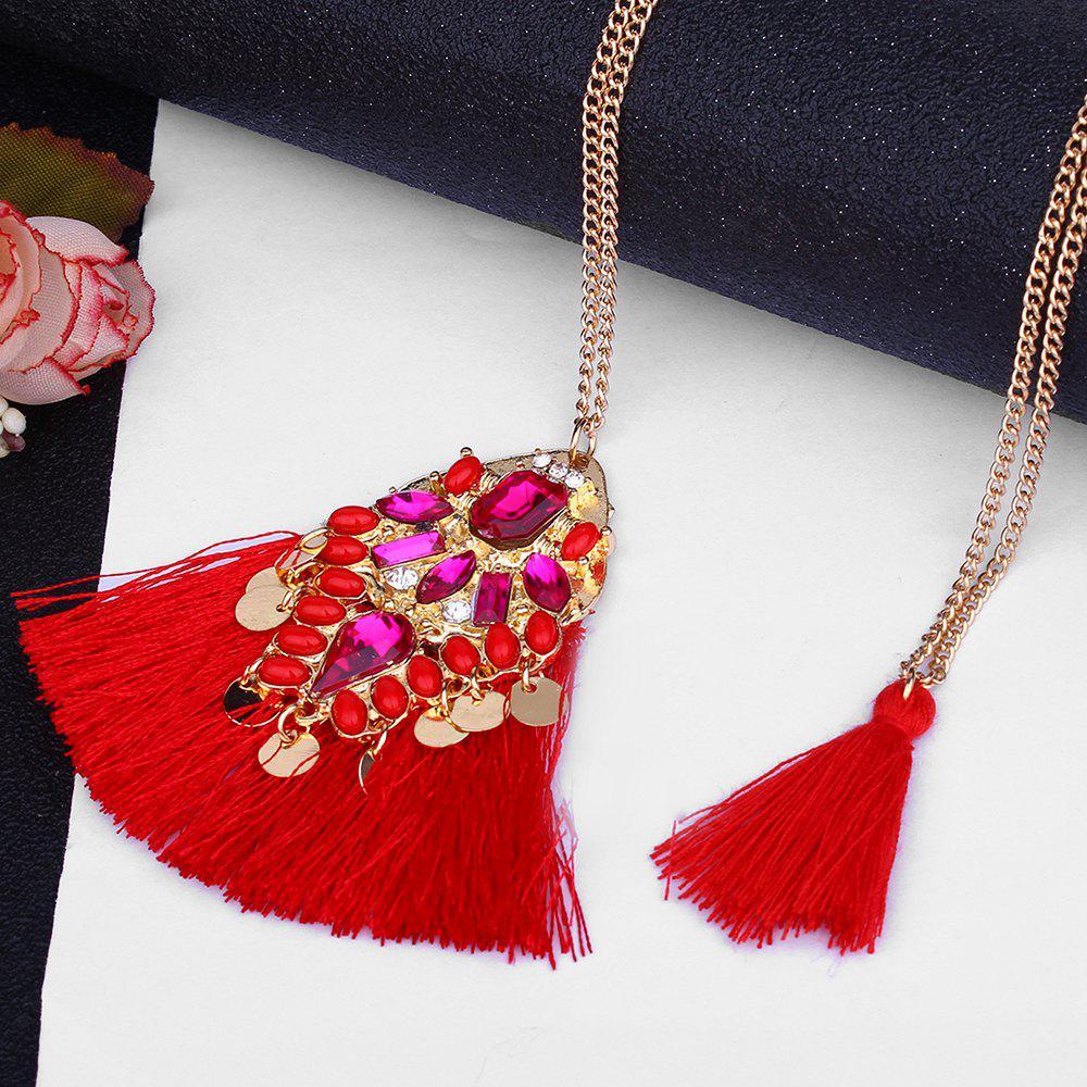 Artificial Crystal Tassel Discs Layered Necklace - RED