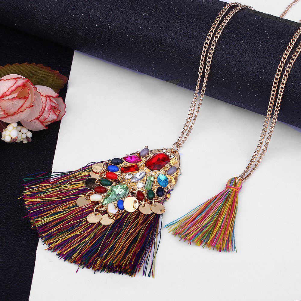 Artificial Crystal Tassel Discs Layered Necklace - COLORMIX