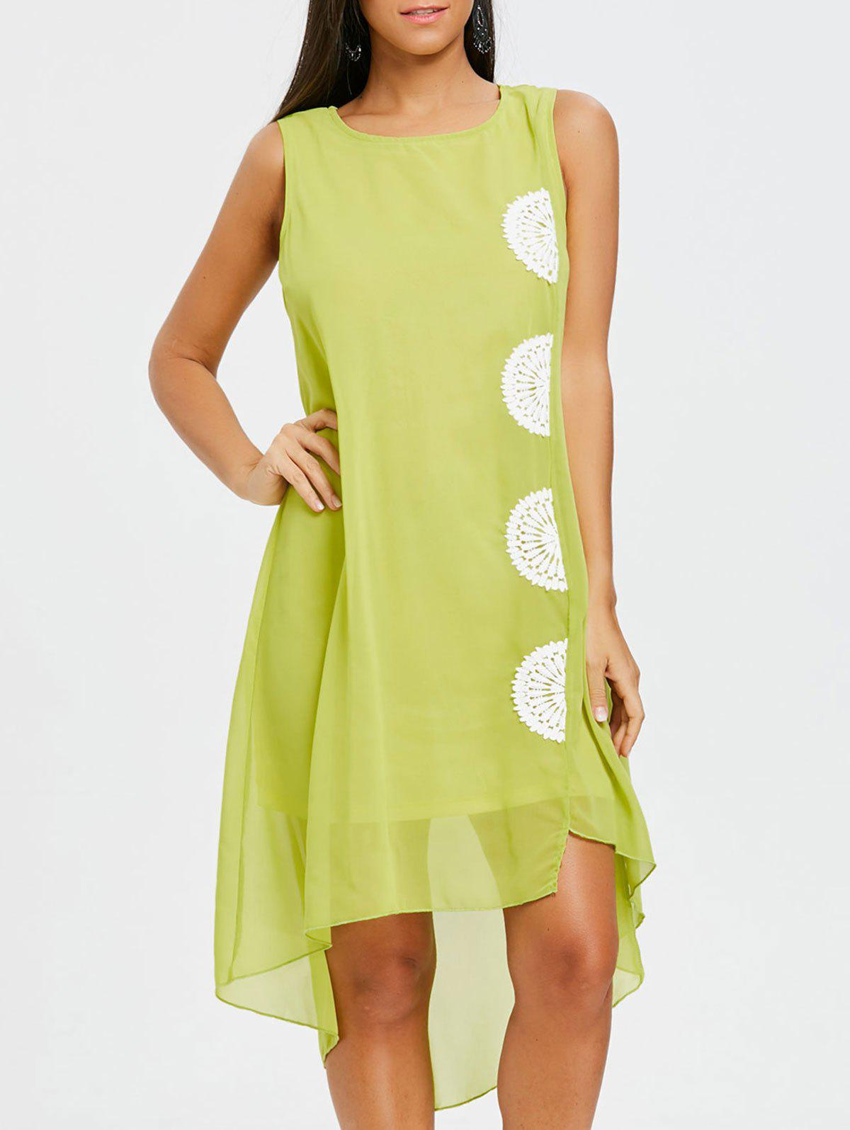 Crochet Trim High Low Chiffon Dress - GREEN S