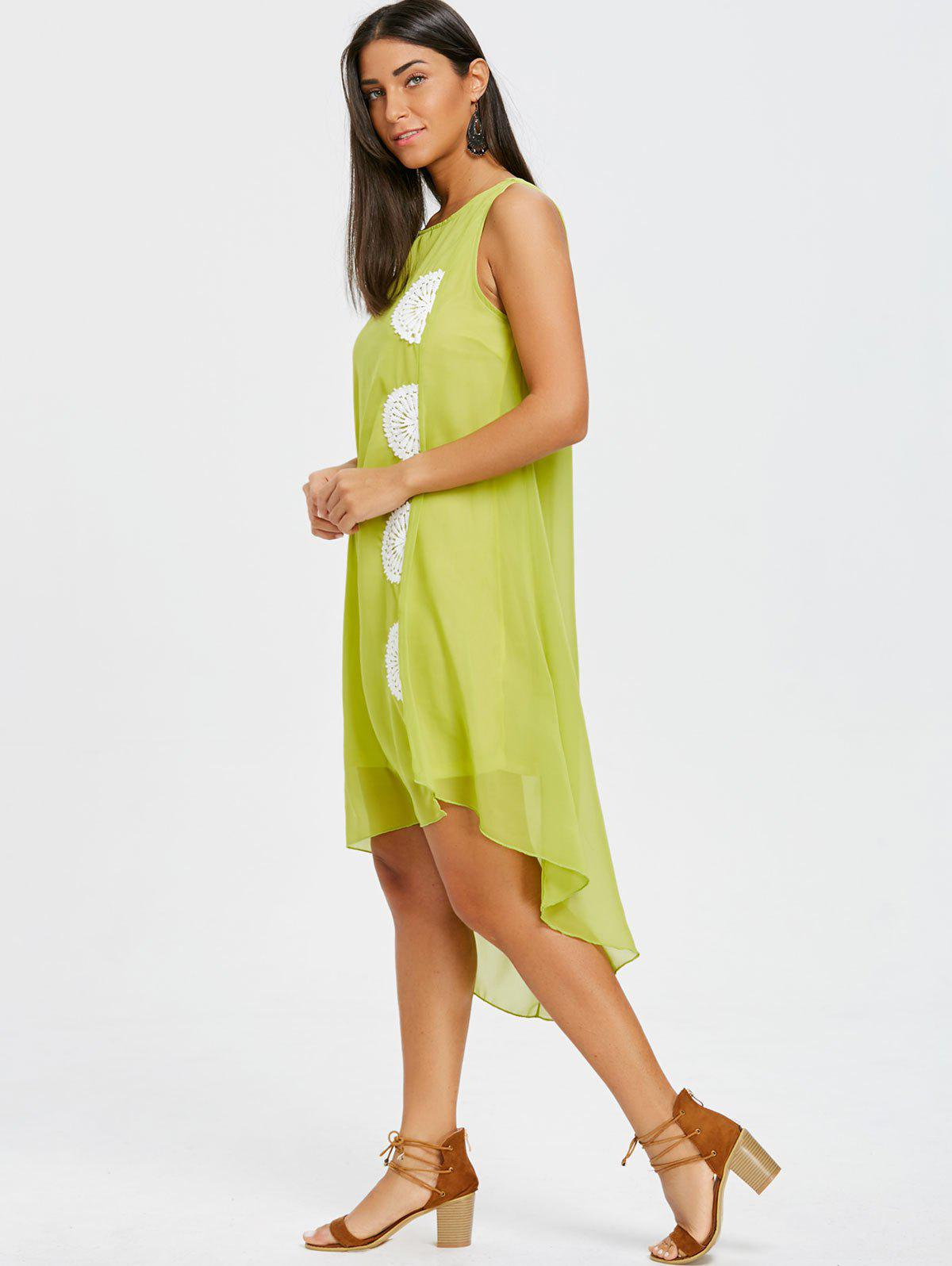 Crochet Trim High Low Chiffon Dress - GREEN XL