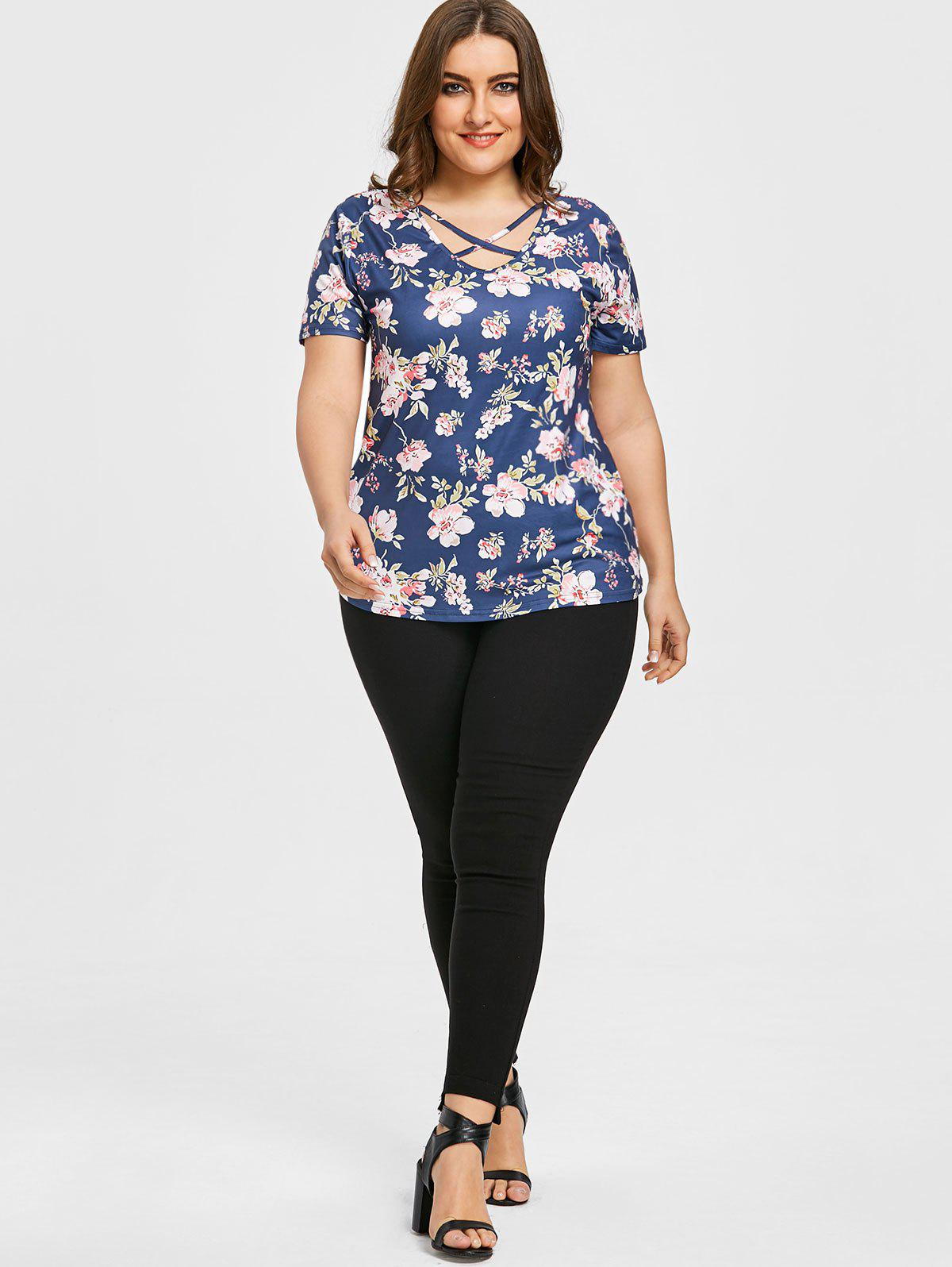 Floral Plus Size Cutout Caged T-shirt - BLUE 3XL