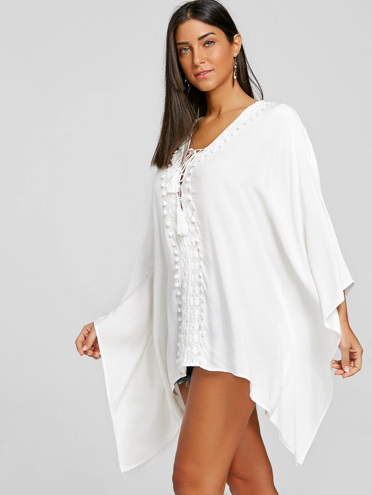 Lace Up Crochet Trimmed Kaftan Blouse - WHITE ONE SIZE