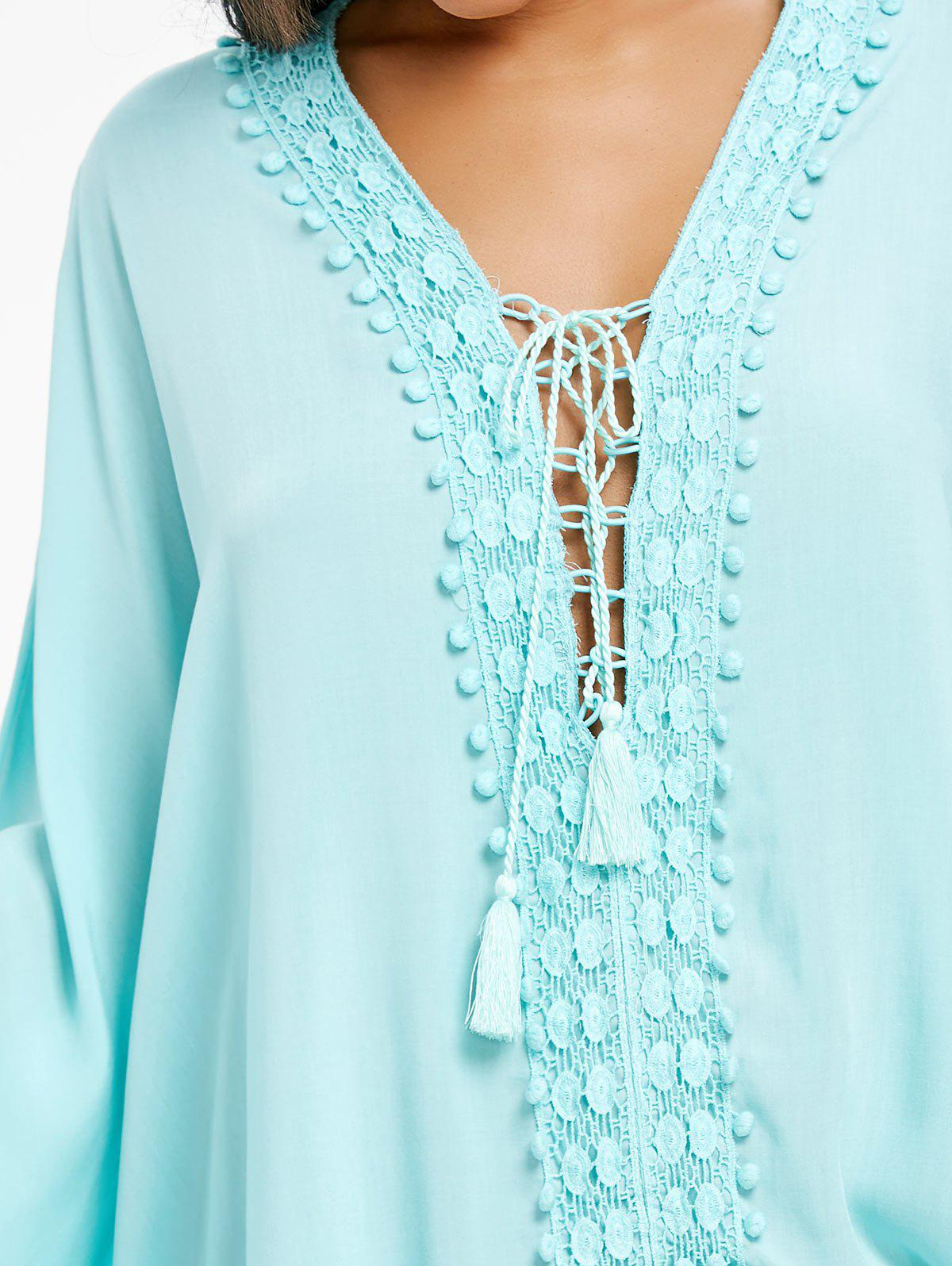 Lace Up Crochet Trimmed Kaftan Blouse - BREEZY ONE SIZE