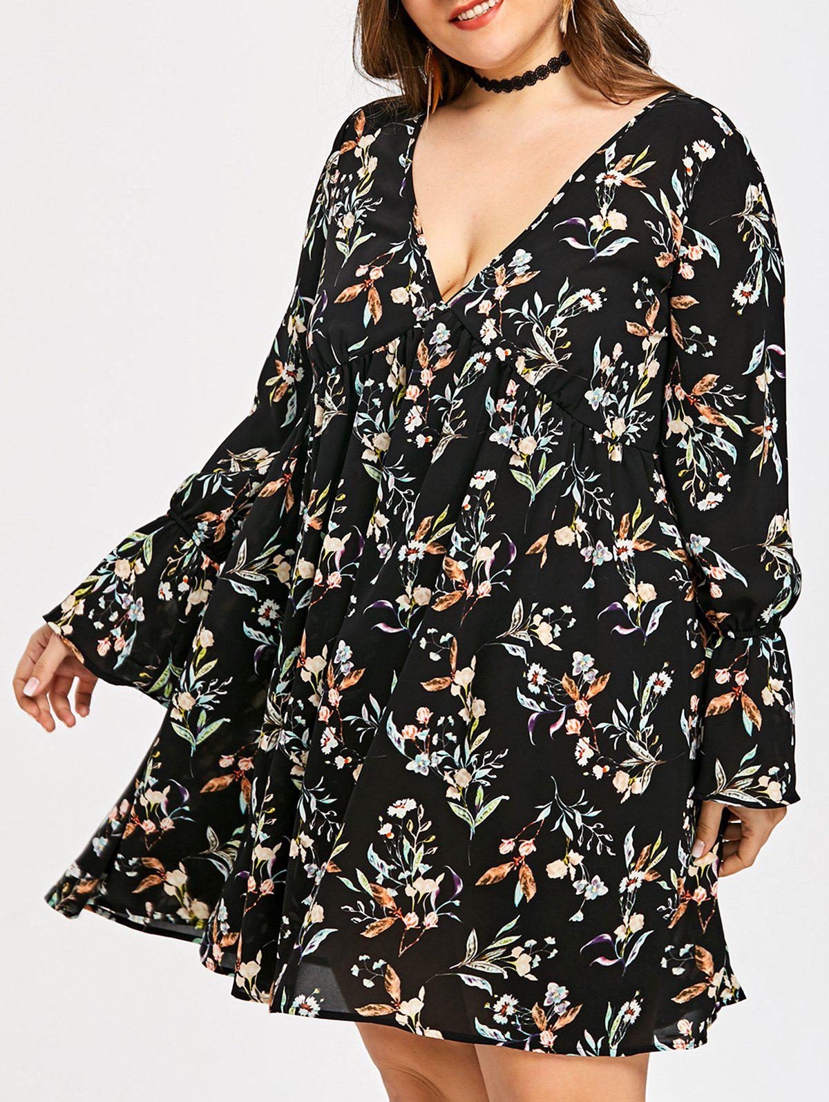 Plus Size Floral Empire Waist Mini Dress - BLACK 2XL