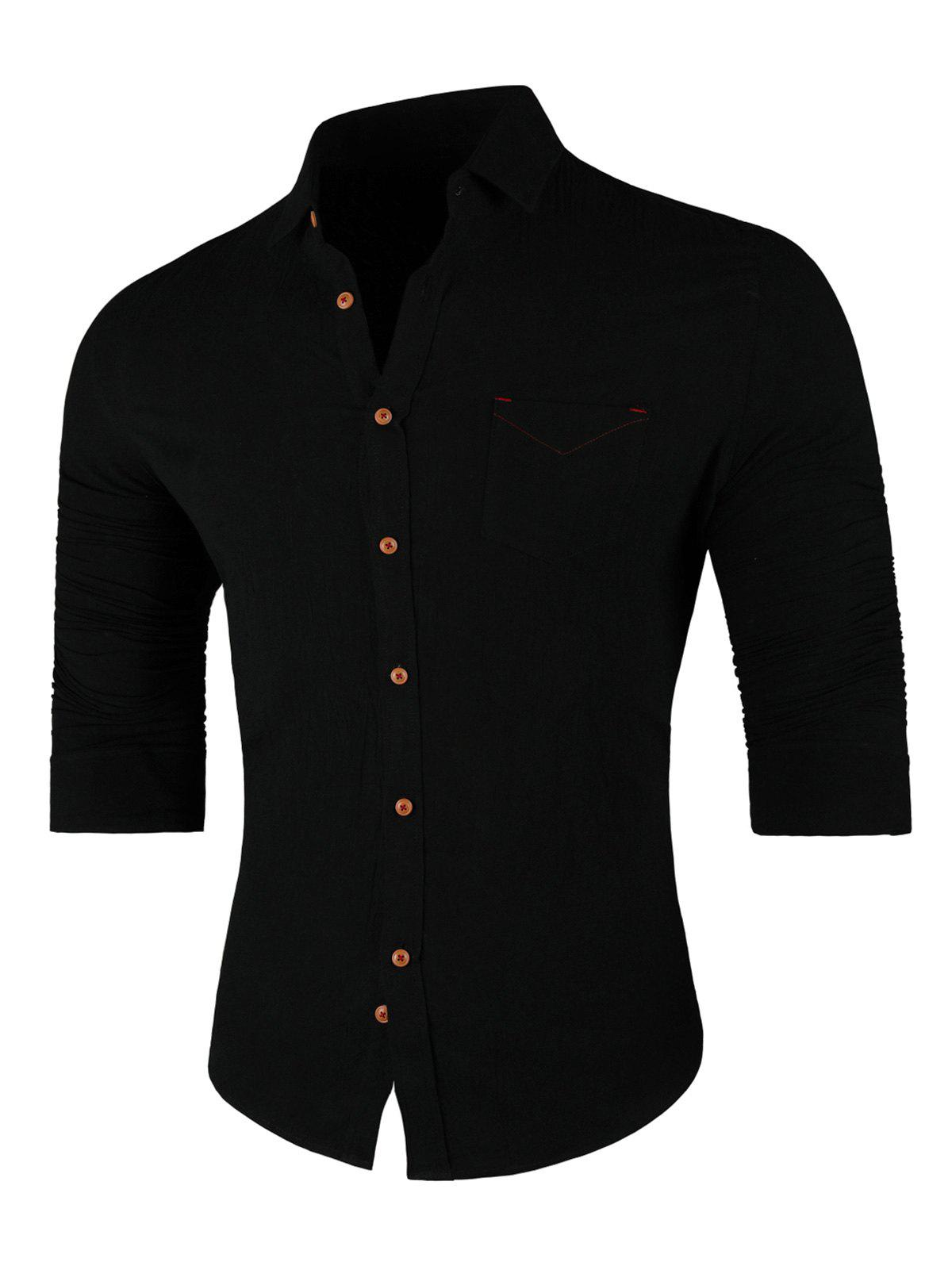 Chest Pocket Turn Down Collar Casual Shirt - BLACK 2XL