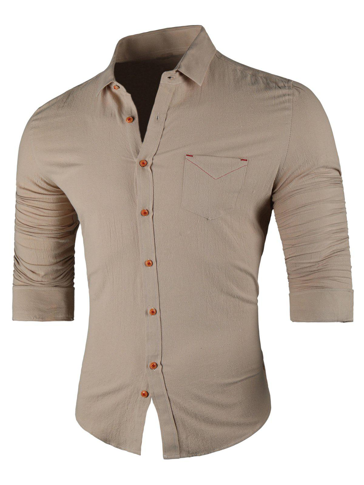 Chest Pocket Turn Down Collar Casual Shirt - KHAKI XL