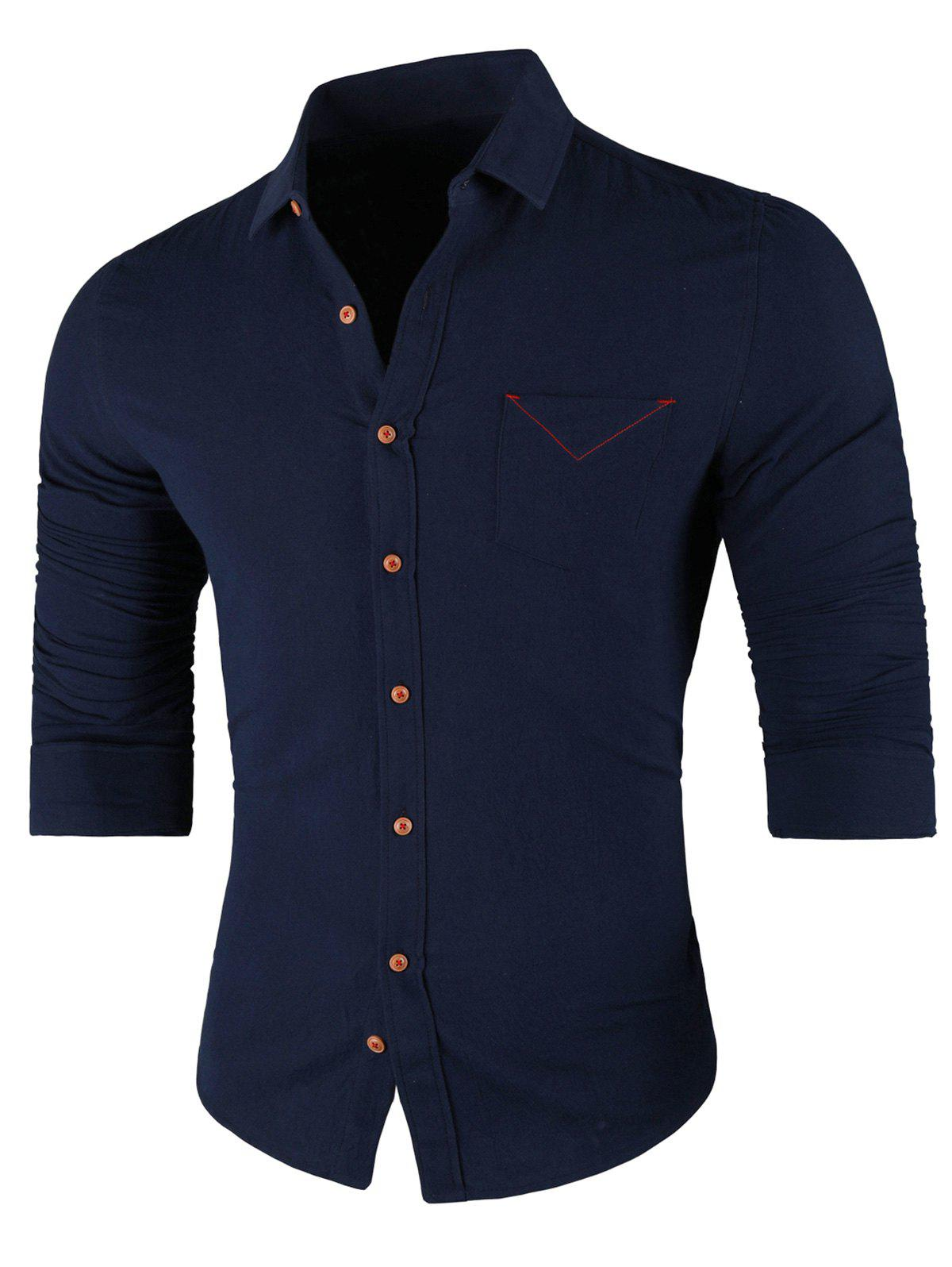 Chest Pocket Turn Down Collar Casual Shirt - CADETBLUE 2XL
