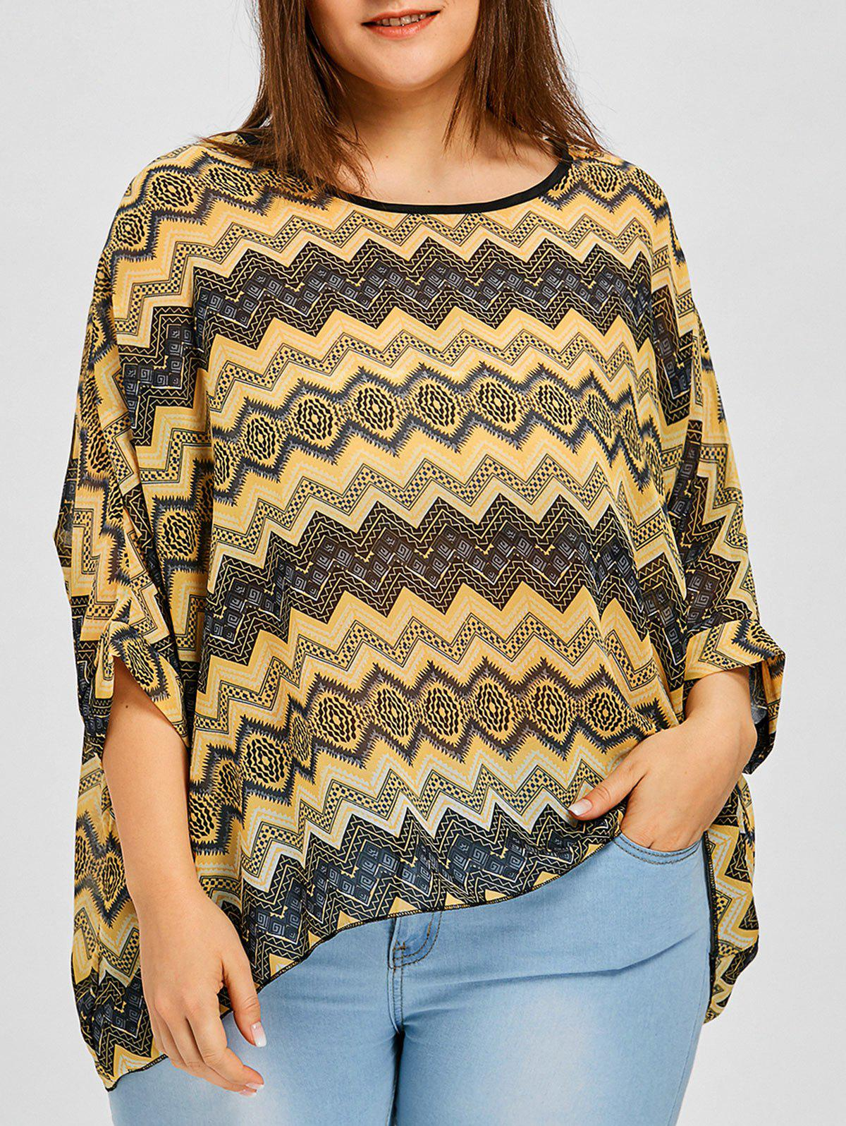 Chevron Plus Size Chiffon Batwing Blouse - multicolor ONE SIZE