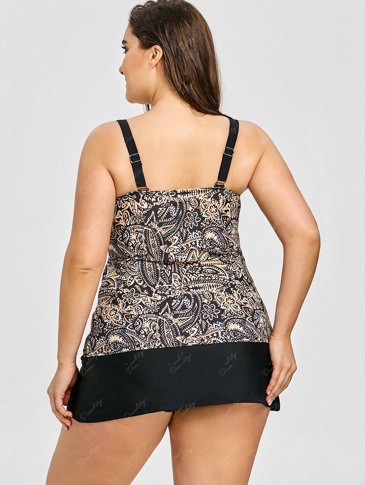 Tropical Leaf Print Plus Size Tankini Set - BLACK 6XL
