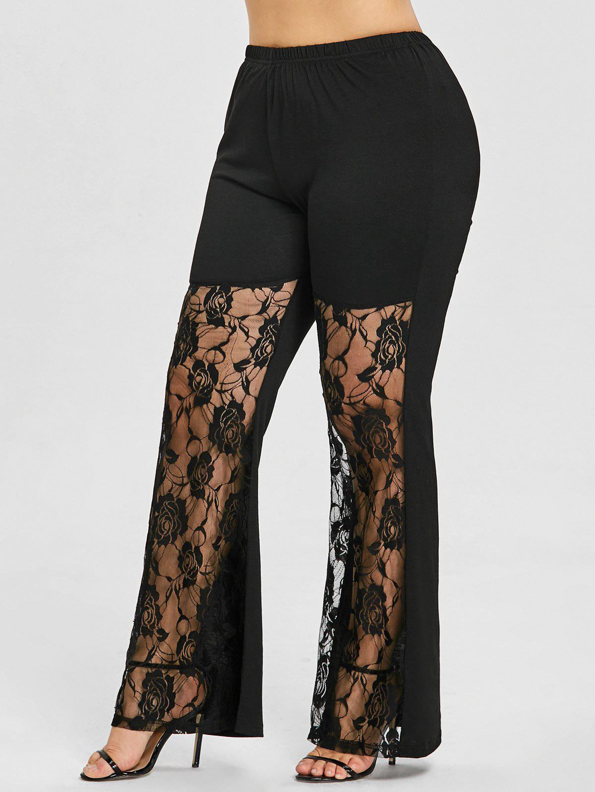 Plus Size Rose Lace Panel Flare Leggings - BLACK 4XL