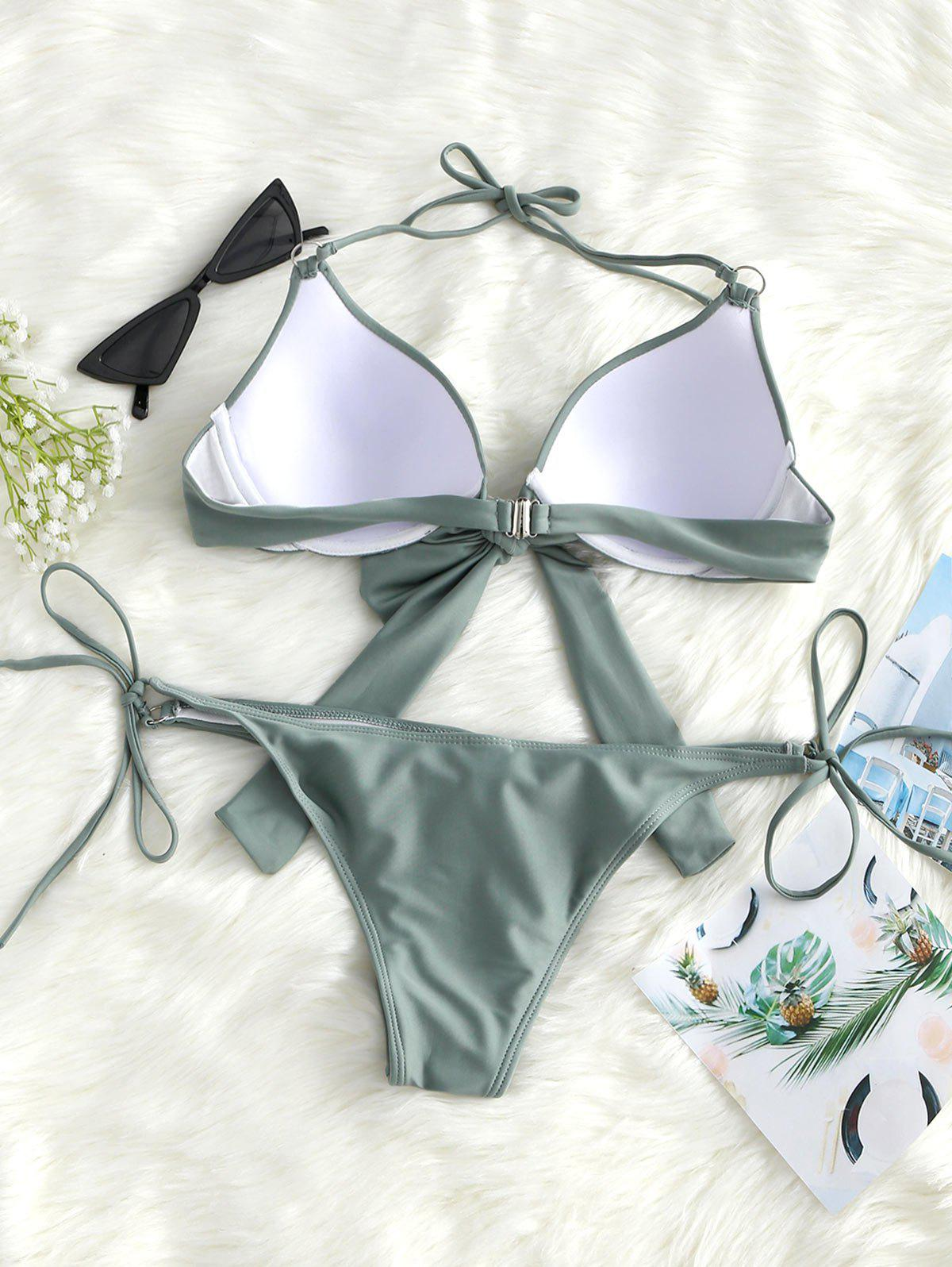 Knot Front Underwire String Bikini Set - SAGE GREEN XL