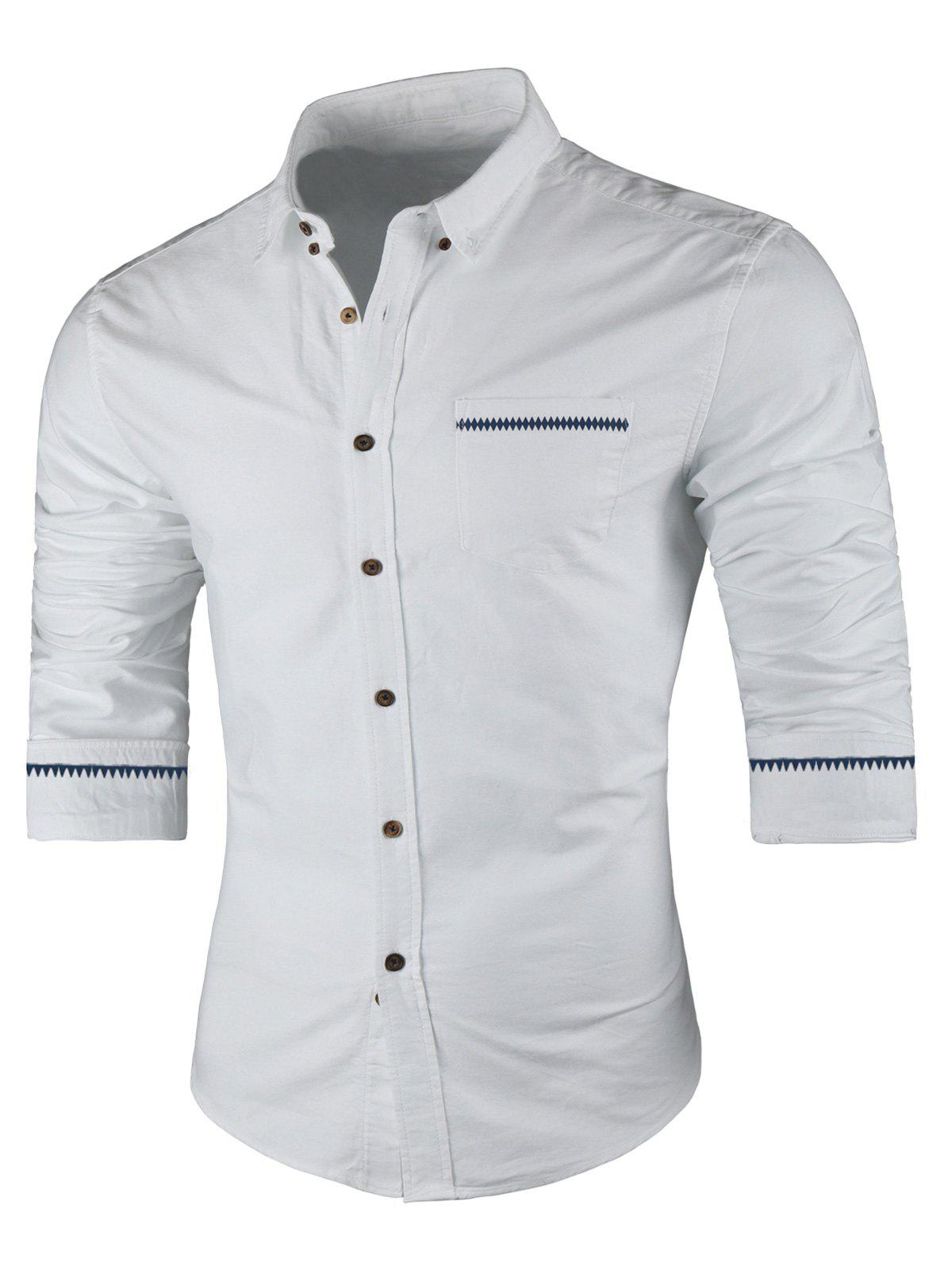 Long Sleeved Button Down Casual Shirt - WHITE 4XL