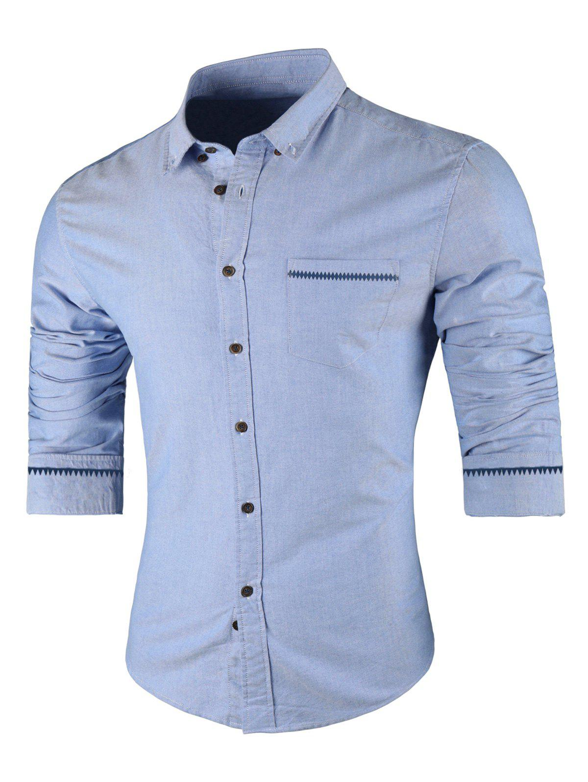 Long Sleeved Button Down Casual Shirt - LIGHT BLUE L