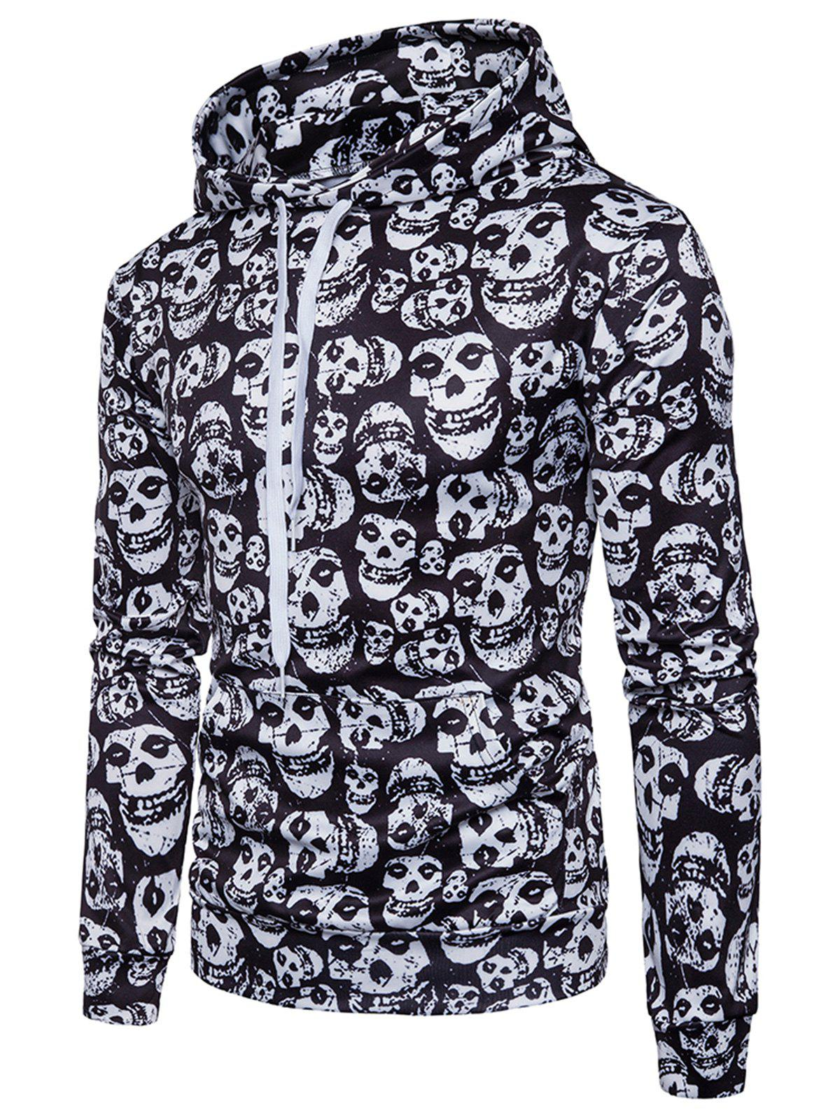 Kangaroo Pocket Skulls Print Hoodie - WHITE/BLACK 3XL