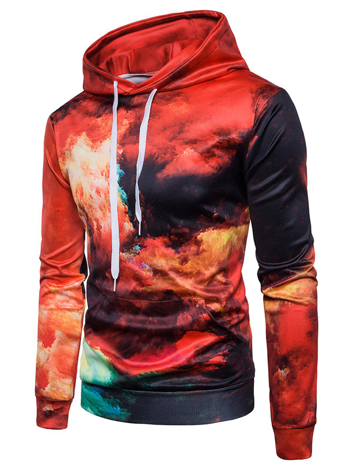 Flame Print Kangaroo Pocket Hoodie - COLORMIX 2XL