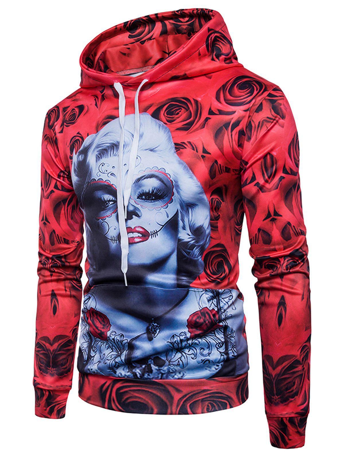 Rose Figure Print Pullover Hoodie - RED XL