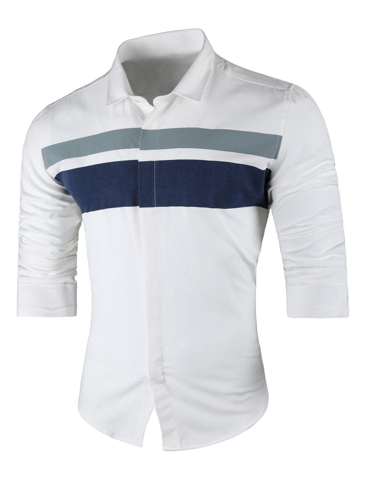 Wide Stripe Turndown Collar Long Sleeve Shirt - WHITE L