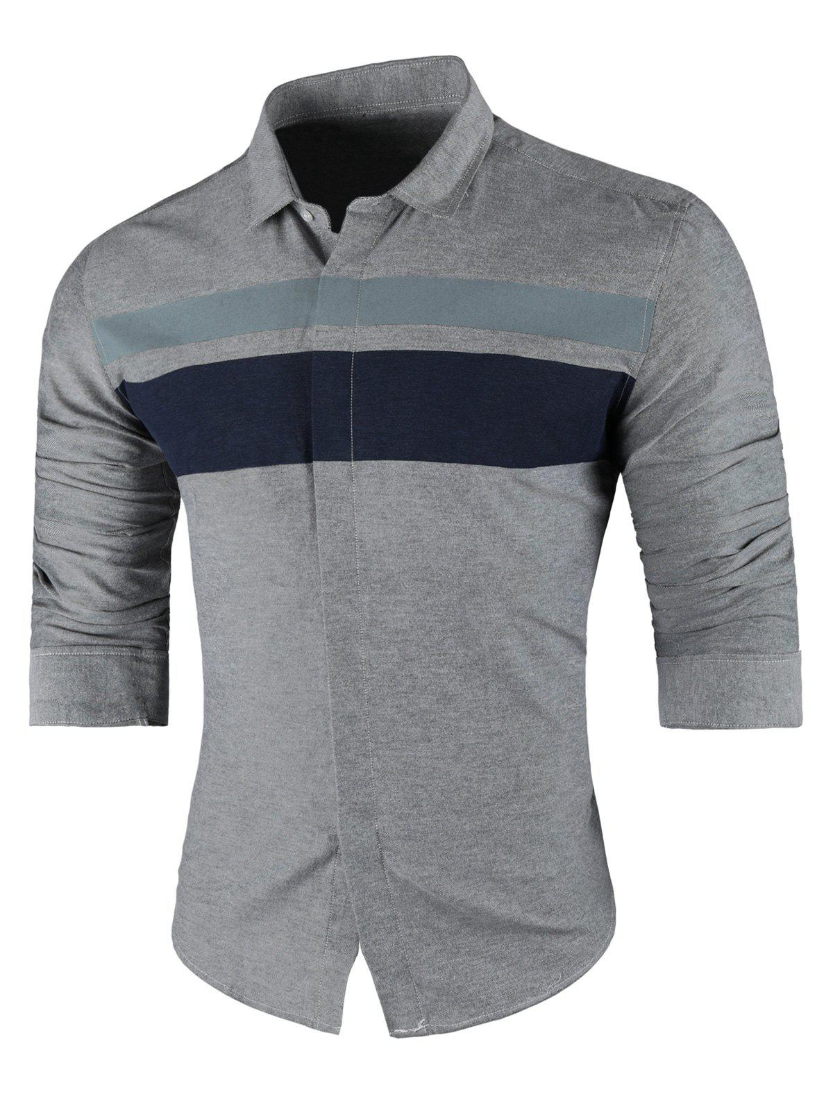 Wide Stripe Turndown Collar Long Sleeve Shirt - GRAY 4XL