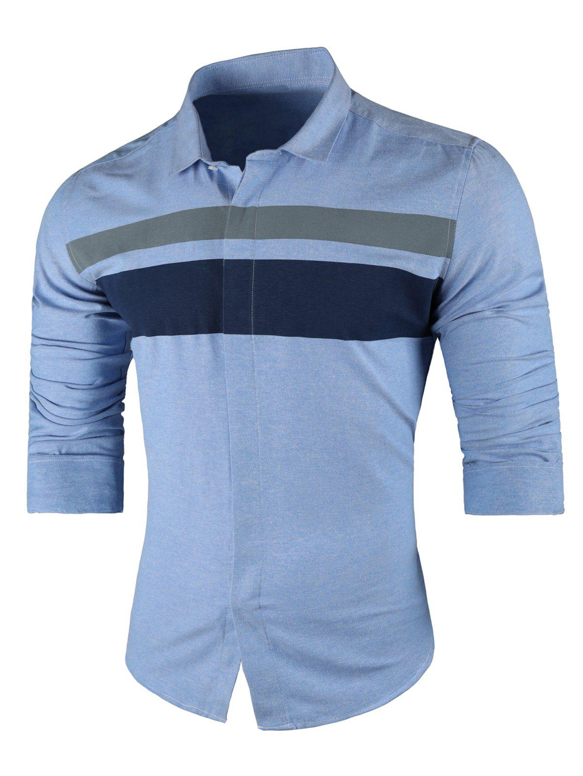 Wide Stripe Turndown Collar Long Sleeve Shirt - LIGHT BLUE 3XL