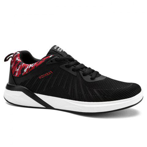 Splicing Air Cushion Athletic Shoes - BLACK/RED 42