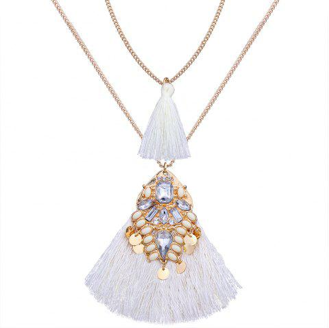 Artificial Crystal Tassel Discs Layered Necklace - WHITE
