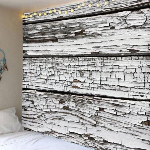Waterproof Peeling Wood Board Printed Polyester Wall Hanging Tapestry - GREY WHITE W91 INCH * L71 INCH