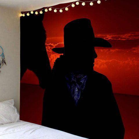 Waterproof West Cowboy at Sunset Printed Wall Tapestry - COLORFUL W79 INCH * L71 INCH