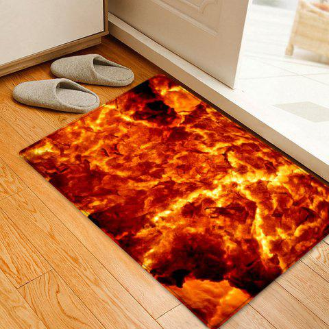 Lava Pattern Floor Area Rug - FLAME RED W20 INCH * L31.5 INCH