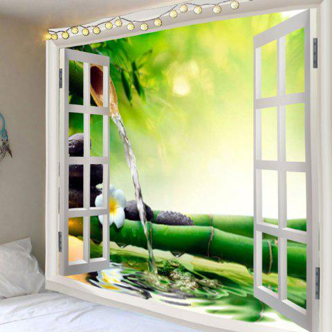 Window Bamboo Running Water Printed Waterproof Wall Decor Tapestry - COLORMIX W91 INCH * L71 INCH