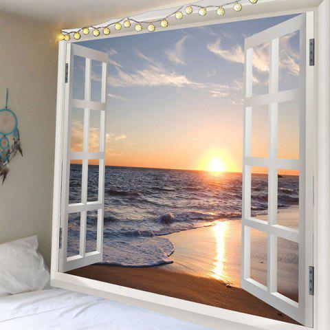 Sea Wave Sunset Beach 3D Window Wall Tapestry - COLORFUL W79 INCH * L71 INCH