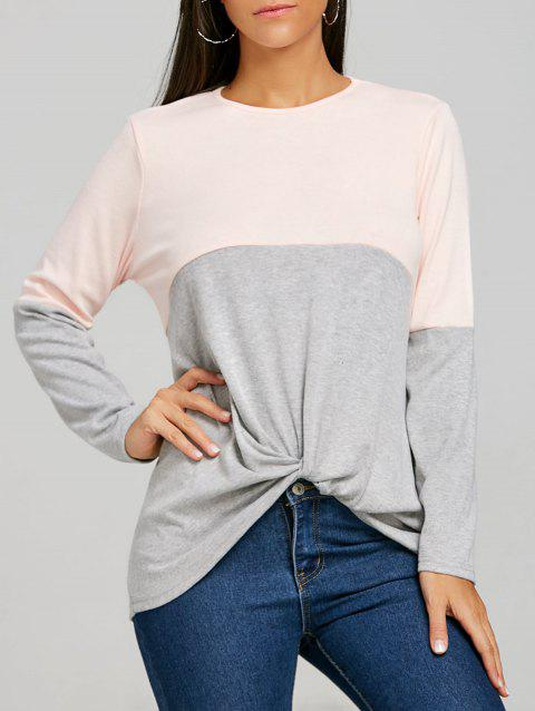 Twist Color Block Long Sleeve Top - GRAY L