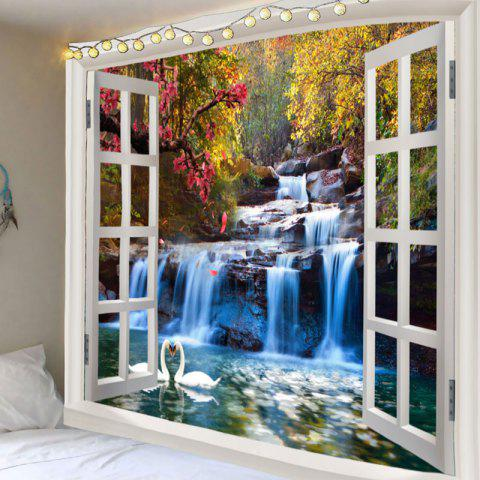 Mountain Waterfall Swan Love Print Tapestry Wall Decor - GREEN W91 INCH * L71 INCH