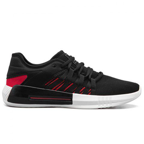 Casual Breathble Mesh Sneakers - BLACK/RED 43