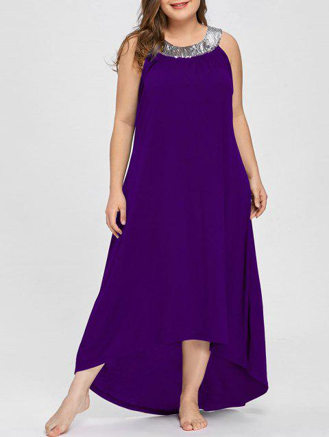 Sequins Collar Plus Size Sleeveless Maxi Dress - PURPLE 5XL