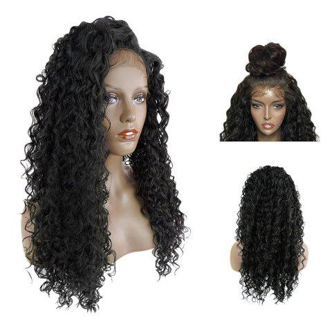 Lace Front Long Side Parting Fluffy Deep Wave Synthetic Hair Wig - BLACK